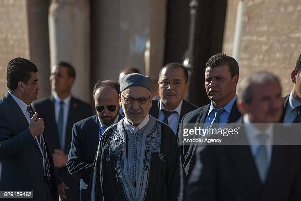 Leader of the Ennahda Party Rached Ghannouchi attends the celebrations for Mawlid alNabi the birth anniversary of Muslims' beloved Prophet Mohammad...