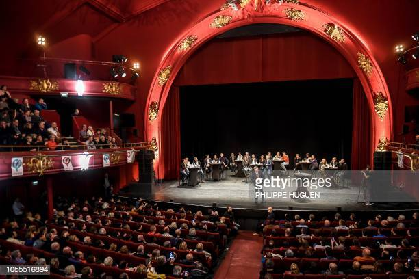 Leader of the farleft party France Insoumise JeanLuc Melenchon gestures on stage during a meeting of his party at the Sebastopol theatre in Lille on...