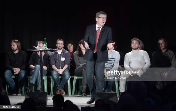 Leader of the far-left party France Insoumise , Marseille deputy, Jean-Luc Melenchon gestures as he speaks during a meeting ahead of the European...