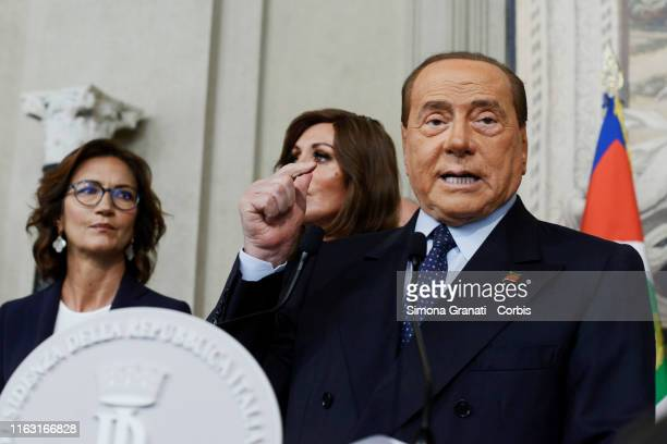 Leader of the Forza Italia party Silvio Berlusconi during a press conference after a meeting with Italy's President Sergio Mattarella during...
