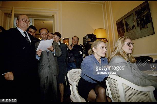 Leader of the French far right Front National party JeanMarie Le Pen at his home in Saint Cloud with his daughters MarieCaroline Le Pen and and...