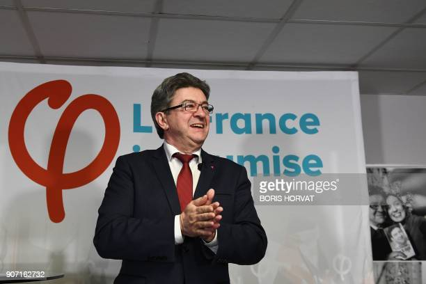 Leader of the French leftist party La France Insoumise and member of parliament JeanLuc Melenchon delivers his New Year wishes to the press on...