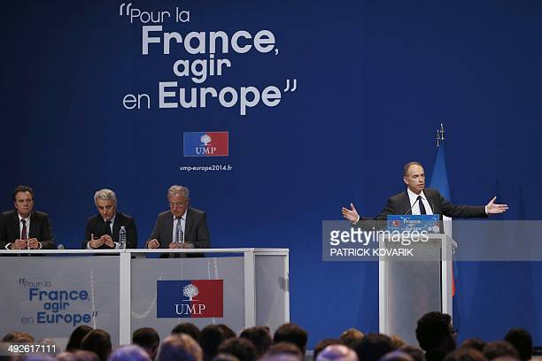 Leader of the French rightwing Union for a Popular Movement party JeanFrancois Cope delivers a speech during a campaign rally on May 21 2014 in Paris...