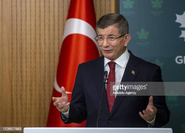 Leader of the Future Party, Ahmet Davutoglu speaks during a joint press conference held with Leader of the Republican People's Party , Kemal...