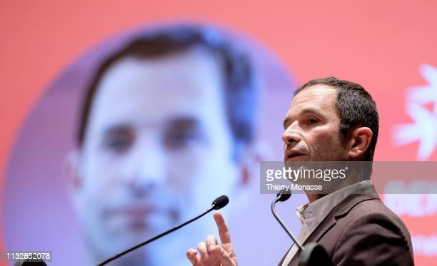 Leader of the Générations le mouvement Benoit Hamon Launch of the Democracy in Europe Movement 2025 on March 25 2019 in Brussels Belgium Leaded by...