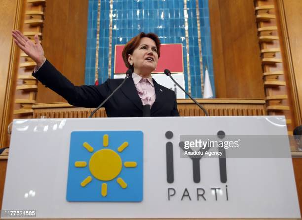Leader of the Good Party, Meral Aksener speaks during her party's group meeting at the Grand National Assembly of Turkey on October 22, 2019 in...