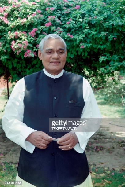 Leader of the Hindu nationalist Bharatiya Atal Bihari Vajpayee arrived at parliament annexe for a meeting of the BJP on May 10 1996 in New Dehli The...