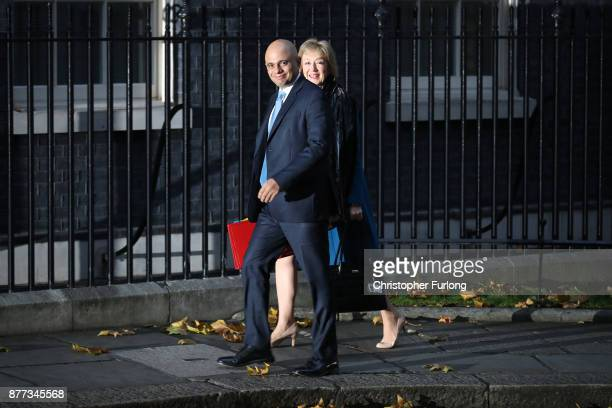 Leader of the House of Commons Andrea Leadsom and Communities Secretary Sajid Javid arrive for a cabinet meeting ahead of the Chancellor's annual...