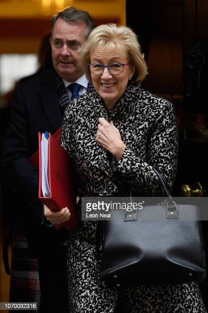 Leader of the House of Commons Andrea Leadsom and International Business Secretary Liam Fox leave number 10 Downing Street following the weekly...