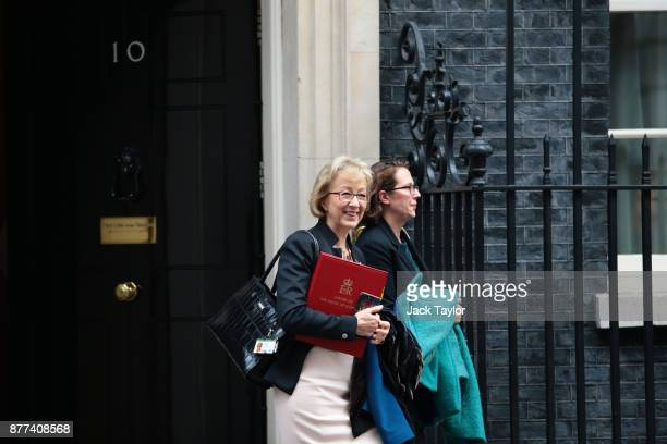 Leader of the House of Commons Andrea Leadsom and Leader of the House of Lords Natalie Evans leave after a cabinet meeting ahead of the Chancellor's...