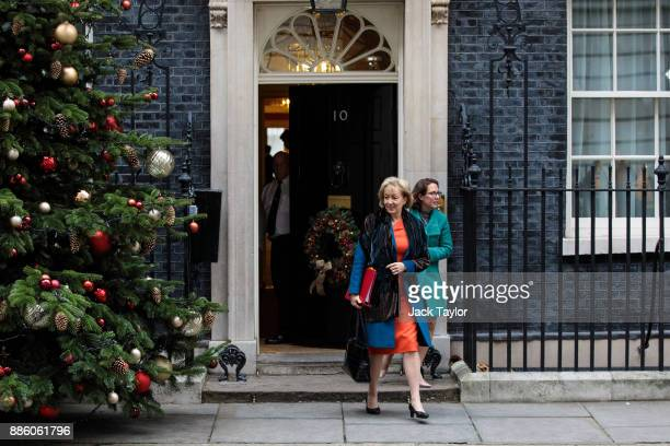 Leader of the House of Commons Andrea Leadsom and Leader of the House of Lords Baroness Natalie Evans leave following the weekly cabinet meeting at...