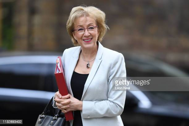 Leader of the House of Commons Andrea Leadsom arrives at Downing Street on March 26 2019 in London England The cabinet met today after parliament...