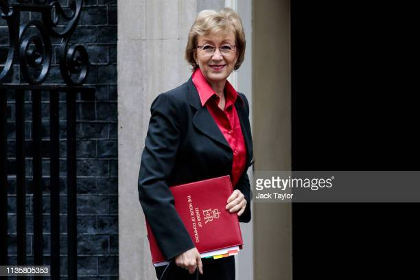 Leader of the House of Commons Andrea Leadsom arrives at Number 10 Downing Street on April 8 2019 in London England British Prime Minister Theresa...