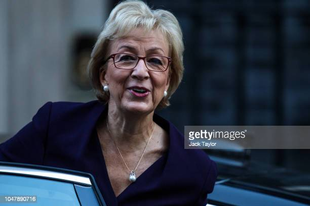 Leader of the House of Commons Andrea Leadsom arrives for a Cabinet meeting at 10 Downing Street on October 9 2018 in London England Parliament...