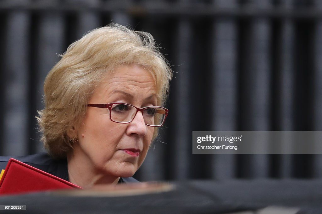 Leader of the House of Commons Andrea Leadsom arrives for the weekly cabinet meeting at 10 Downing Street on March 13, 2018 in London, England.