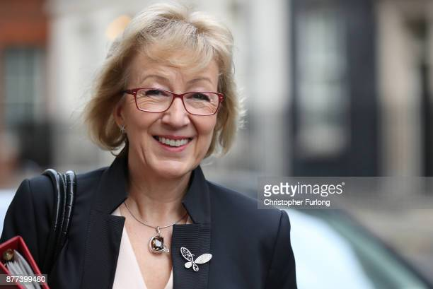 Leader of the House of Commons Andrea Leadsom leaves after a cabinet meeting ahead of the Chancellor's annual budget at 10 Downing Street on November...