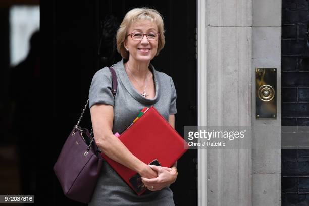Leader of the House of Commons Andrea Leadsom leaves following a cabinet meeting at 10 Downing Street on June 12 2018 in London England
