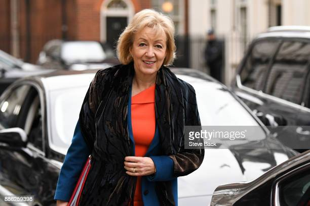 Leader of the House of Commons Andrea Leadsom leaves following the weekly cabinet meeting at Downing Street on December 5 2017 in London England...