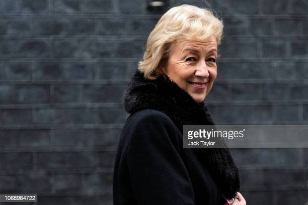 Leader of the House of Commons Andrea Leadsom leaves Number 10 Downing Street following a meeting of cabinet ministers on December 06 2018 in London...