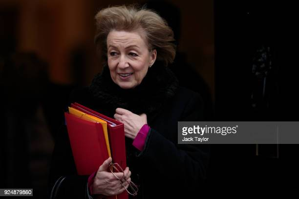 Leader of the House of Commons Andrea Leadsom leaves Number 10 Downing Street following the weekly cabinet meeting on February 27 2018 in London...