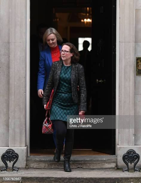 Leader of the House of Lords Baroness Evans and Secretary of State for International Trade Liz Truss depart following a cabinet meeting at Downing...