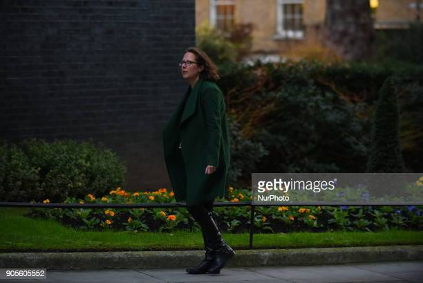 Leader of the House of Lords Lord Privy Seal Baroness Evans of Bowes Park arrives at Downing Street as to attend the weekly Cabinet meeting London on...