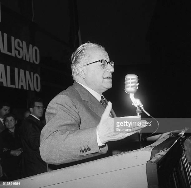 Leader of the Italian Communist party Palmiro Togliatti pronounces his speech at the closing massrally for the electoral campaign April 26th The...