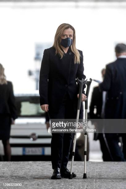 Leader of the Italian far-right 'Brothers of Italy' party, Giorgia Meloni arrives at the Quirinale Palace for a meeting with Italian President Sergio...