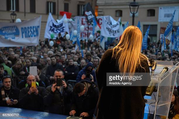 Leader of the Italian 'Fratelli d'Italia' party, Giorgia Meloni addresses to people at the 'Italia Sovrana' demonstration at Piazza San Silvestro, in...