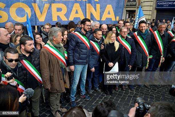 Leader of the Italian 'Fratelli d'Italia' party, Giorgia Meloni poses for a photo during the 'Italia Sovrana' demonstration at Piazza San Silvestro,...