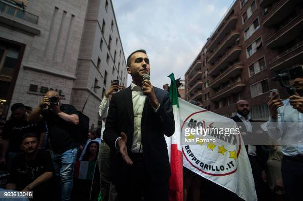 Leader of the Italy's 5 Star Movement Luigi Di Maio attends a rally on May 29 2018 in Naples Italy Political uncertainty continues in Italy after its...