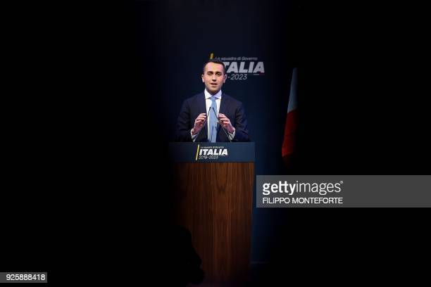 Leader of the Italy's populist Five Star Movement Luigi Di Maio gives a speech on March 1 in Rome as he present his wouldbe cabinet team ahead of...