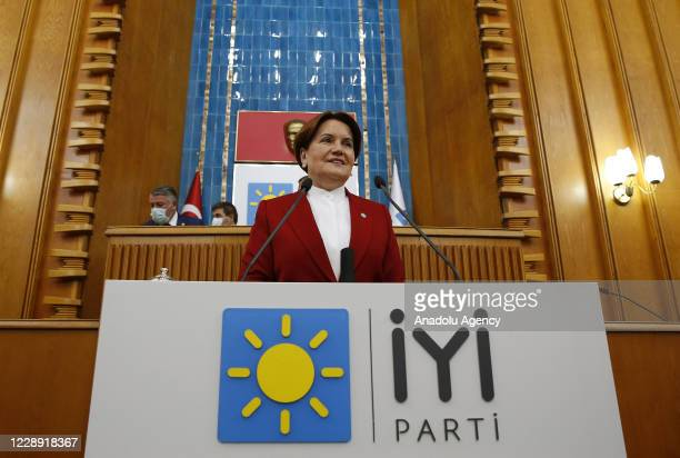 Leader of the IYI Party Meral Aksener makes a speech during her party's group meeting at the Turkish Grand National Assembly in Ankara, Turkey on...