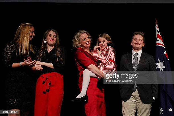Leader of the Labor Party Bill Shorten is joined on stage by wife Chloe Shorten and family Alexandria Georgette Clementine and Rupert while thanking...