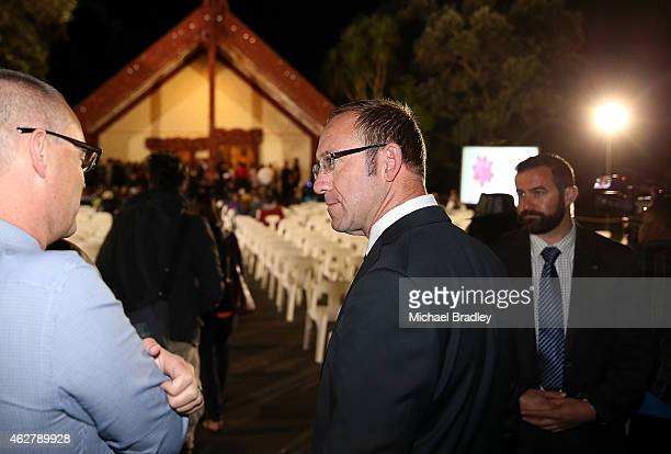 Leader of the Labour Party Andrew Little arrives at the dawn service at the Treaty Grounds on February 6 2014 in Paihia New Zealand The Waitangi Day...