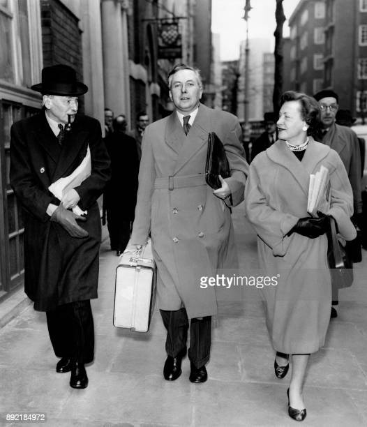 Leader of the Labour party Clement Attlee and members of the National Executive Committee of the Labour party Harold Wilson and Barbara Castle leave...