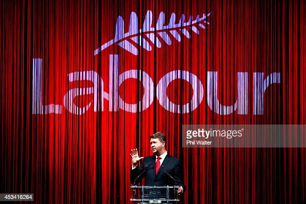 Leader of the Labour Party David Cunliffe officially launches Labour's election campaign at the Viaduct Events Centre on August 10 2014 in Auckland...