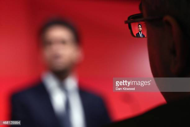 Leader of the Labour party Ed Miliband addresses business leaders and members of the media at Bloomberg LP's European headquarters on March 30 2015...