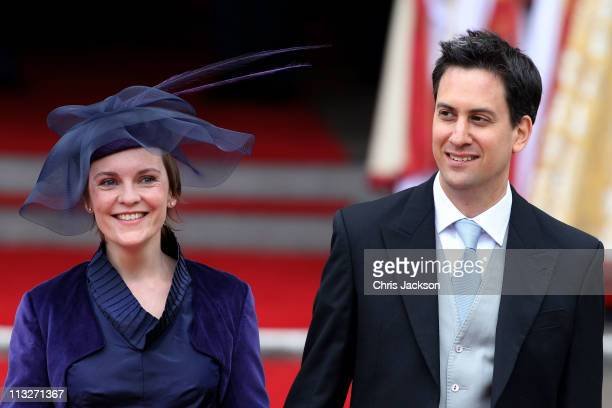 Leader of the Labour Party Ed Miliband and Justine Thornton exit following the marriage of Prince William, Duke of Cambridge and Catherine, Duchess...