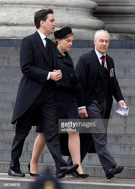 Leader of the Labour Party Ed Miliband and wife Justine Thornton attend the funeral service of Baroness Thatcher at St Paul's Cathedral on April 17...