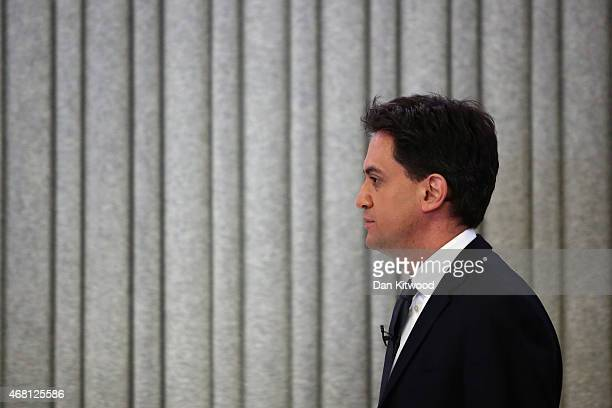 Leader of the Labour party Ed Miliband arrives to address business leaders and members of the media at Bloomberg LP's European headquarters on March...