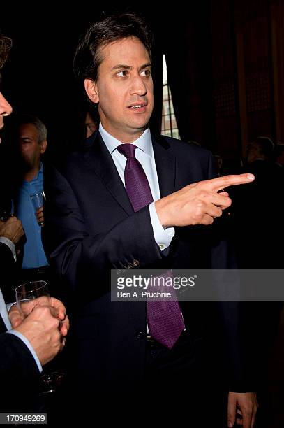 Leader of the Labour Party Ed Miliband attends The New Statesman Centenary Party at Great Hall on June 20 2013 in London England