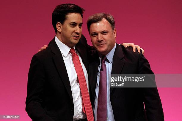 Leader of the Labour Party Ed Miliband congratulates former Education Secretary Ed Balls after his speech on the fourth day of the Labour party...