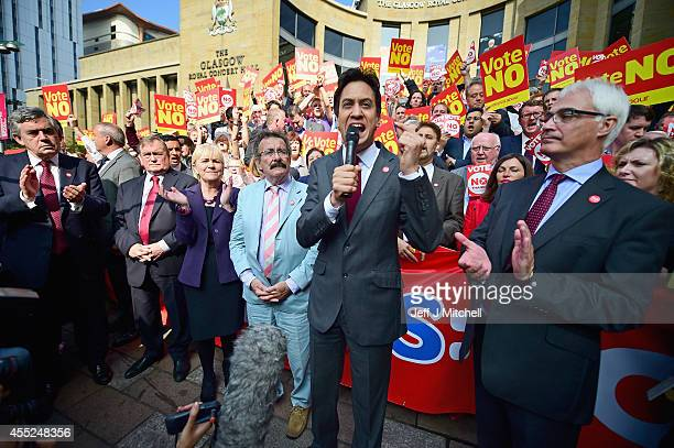 Leader of the Labour Party Ed Miliband speaks as chair of the Better Together Campaign Alistair Darling Former Prime Minister Gordon Brown John...