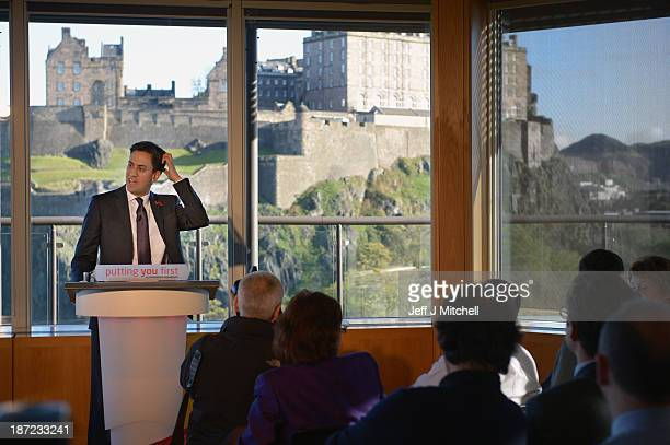 Leader of the Labour Party Ed Miliband speaks as he visits Standard Life on November 2013 in Edinburgh Scotland The Labour leader was attending a QA...