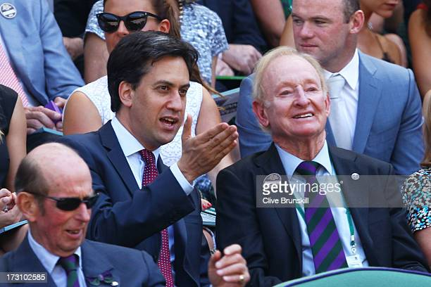 Leader of the Labour Party Ed Miliband speaks with Rod Laver before the Gentlemen's Singles Final match between Andy Murray of Great Britain and...