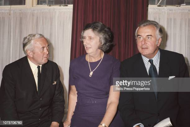 Leader of the Labour Party Harold Wilson pictured on left with Prime Minister of Australia Gough Whitlam and his wife Margaret Whitlam as they meet...
