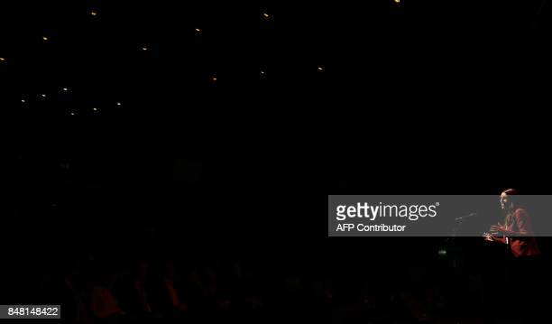 Leader of the Labour Party Jacinda Ardern speaks at a Labour Party rally in Hamilton on September 17 2017 ahead of New Zealand's General election...