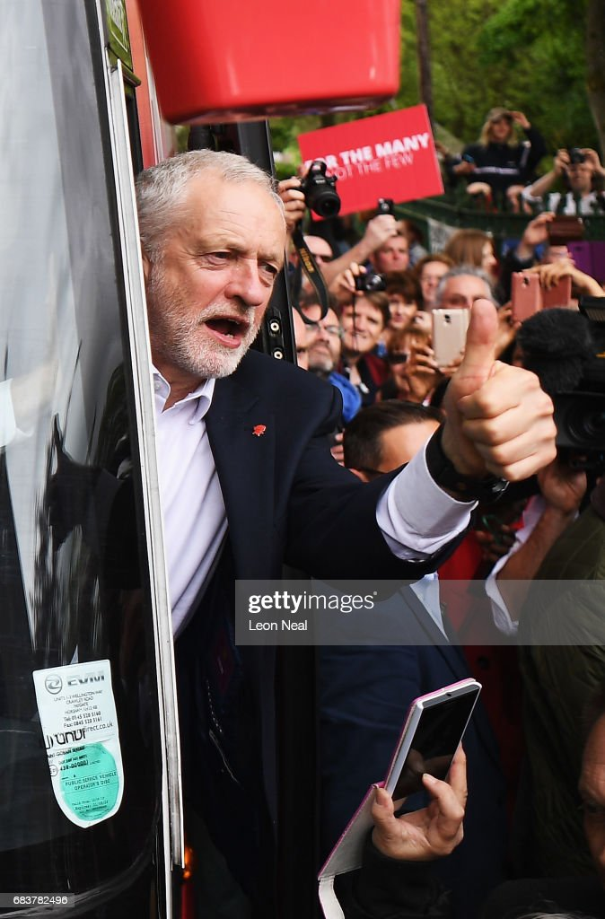 Leader of the Labour Party Jeremy Corbyn acknowledges supporters after attending a campaign rally in Beaumont Park after launching the Labour Party Election Manifesto on May 16, 2017 in Huddersfield, England. Britain will vote in a general election on June 8.