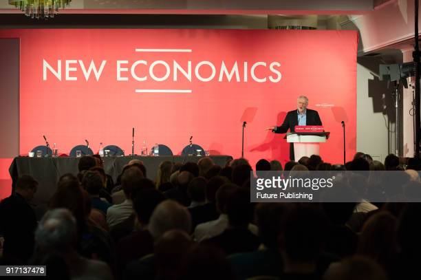 Leader of the Labour Party Jeremy Corbyn addresses a conference in central London on alternative models of ownership in the economy in the wake of...
